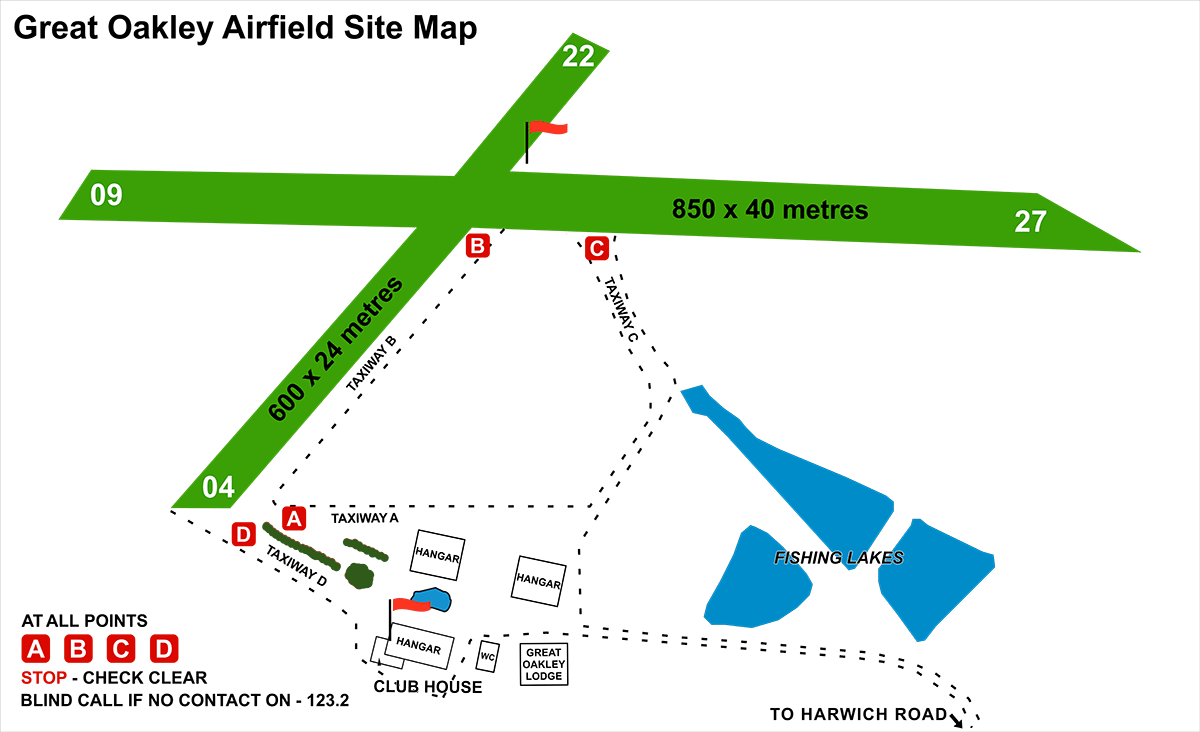 Great Oakley Airfield site map